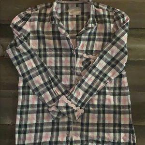 Victoria Secret Flannel Plaid Shirt w/Trimming (M)